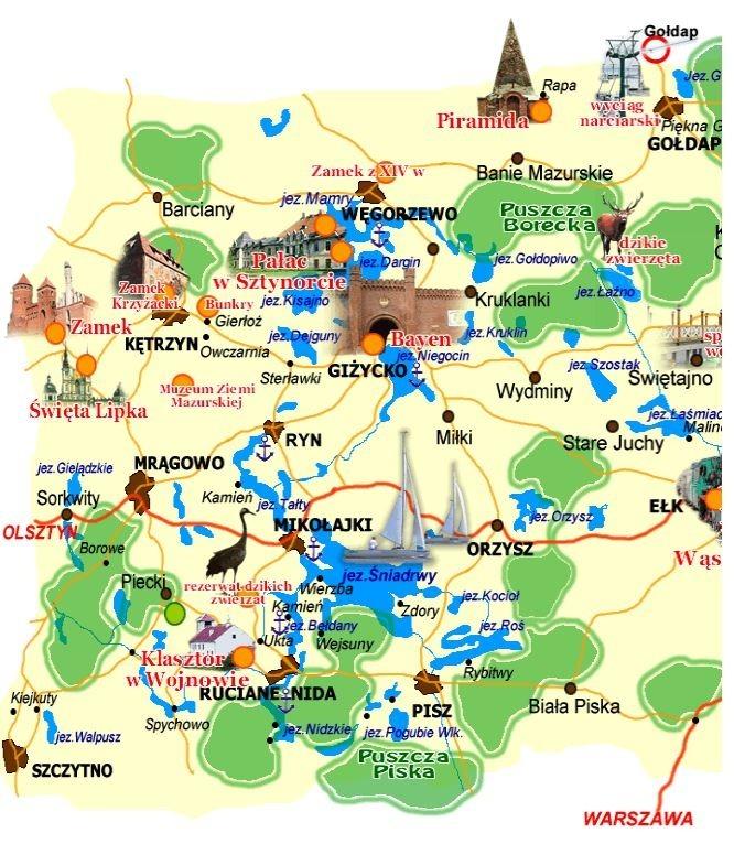 Mapa Mazury - atrakcje